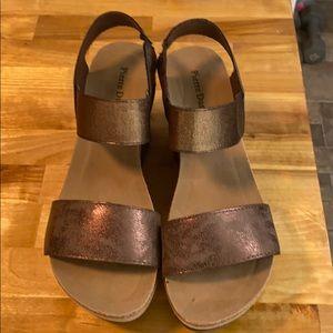 Bronze wedge sandals